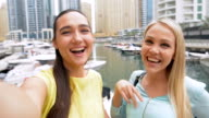 SELFIE: Tourist women in Dubai Marina video