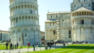 Tourists admire the famous Leaning Tower video