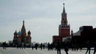 Tourists and locals visiting Red square in Moscow, Russia. Time-lapse. FullHD video