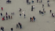 Tourists And Street Performers In City From Above video