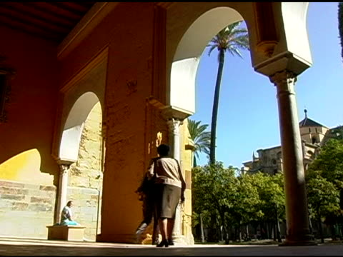 Tourists at La Mesquite Mosque in Cordoba Spain video
