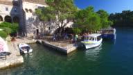 Tourists at St. Mary island on island of Mljet, Croatia video