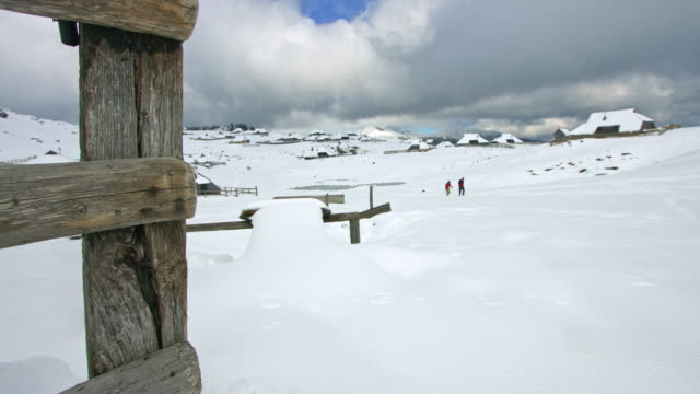DS Tourists hiking at village Velika Planina in winter video