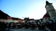 Tourists in Brasov medieval old town video