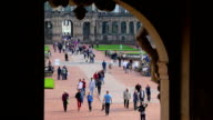Tourists in Europe, people tour attractions, city crowded museum. Beautiful shot of Europe, culture and landscapes. Traveling sightseeing, tourist views landmarks of Germany. World travel, west European trip cityscape, outdoor shot video