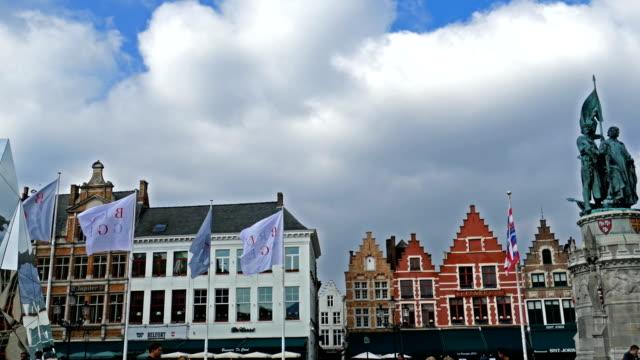 Tourists in Grote Markt, Bruges, Belgium video