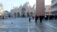 Tourists in San Marco square is the largest and most famous square in Venice. video