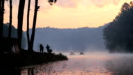 Tourists in the morning at Pang Ung (Pang Tong reservoir) in Mae Hong Son, Thailand video