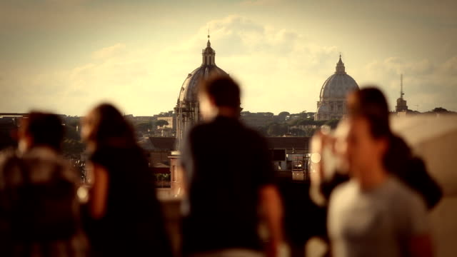 Tourists on Capitol Hill with Domes of Rome video