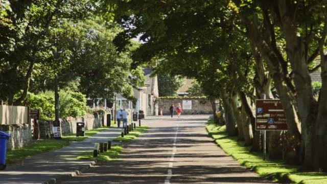 Tourists on Lane on Lindisfarne video