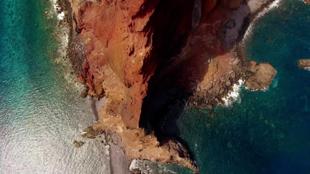 tourists on Sao Lourenco peninsula, Madeira, aerial view video
