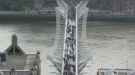 Tourists on the Millennium Bridge, London video