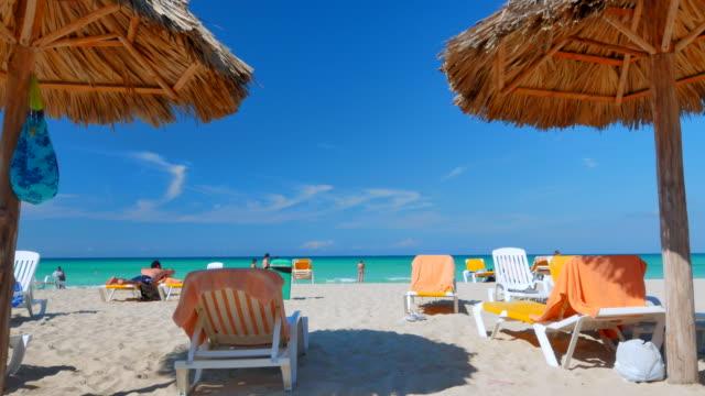 Tourists Relax on Tropical Beach under Thatch Umbrella Palapas . video