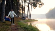 Tourists relaxing in the morning at Pang Ung Mae Hong Son, Thailand. video