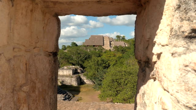 Tourists sightseeing ancient Mayan city and the remains of temple in the jungle video