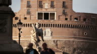 Tourists Silhouette and Castel Sant'Angelo video