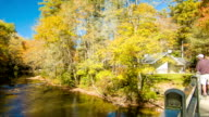 Tourists Viewing the Linville, NC River with Fall Colors video