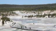 tourists walking amongst geysers in Yellowstone video