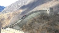 Tourists walking on the great wall of china video
