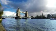Tower Bridge and Thames River, London, Real Time video