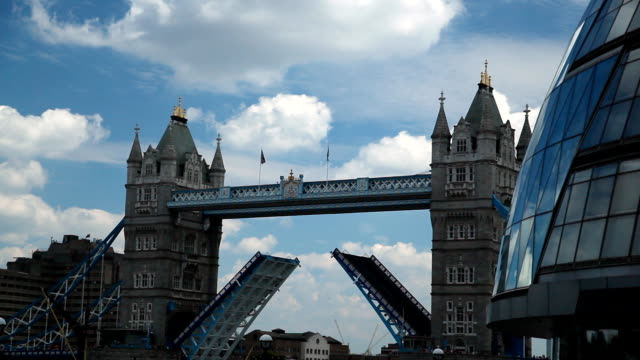 Tower Bridge in London closing the bascules video