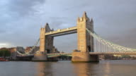 Tower bridge in London in the sunset light video