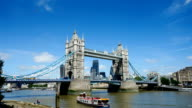 Tower Bridge, London, England in summer with time-lapse video