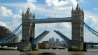 Tower Bridge, London opens & closes time lapse close up video