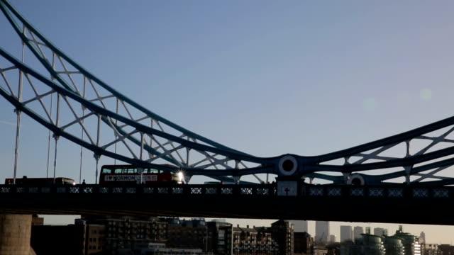 Tower Bridge London traffic with bus video