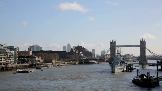 Tower Bridge with Boats on River Thames video