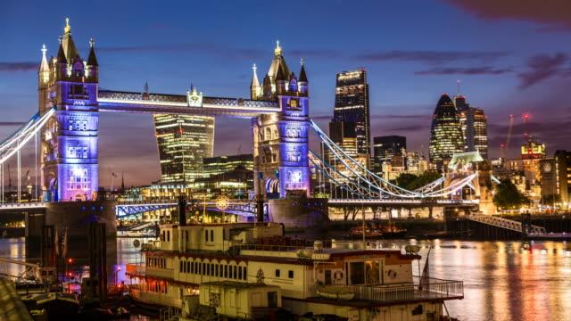 Tower Bridge with London Skyline by night video
