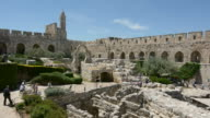 Tower of David and archeological garden in Jerusalem, Israel video