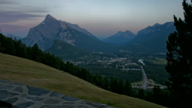 Town of Banff at Dusk, Time Lapse video