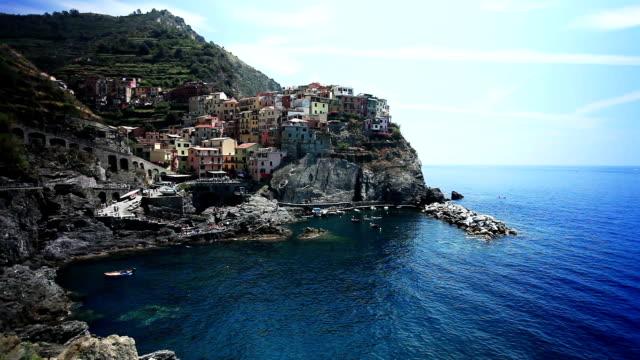 Town  on a rocks - Manarola, Liguria, Italy video