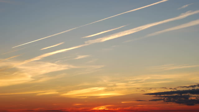 Traces of the aircraft at sunset video