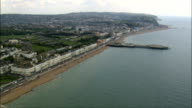 track along Hastings seafront - Aerial View - England,  Greater London,  Bexley,  United Kingdom video