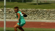 Track and Field athlete throwing discus, slow motion video