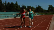 Track relay, slow motion video