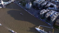 Tracking aerial shot over River Thames and The City video