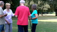 Tracking shot of active seniors talking in park video