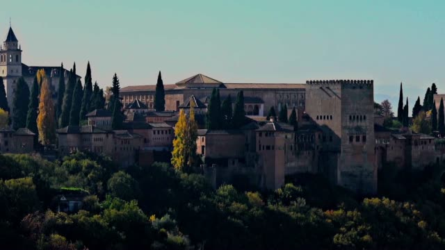 Tracking shot of the outside of the Alhambra palace in Granada, Spain. video
