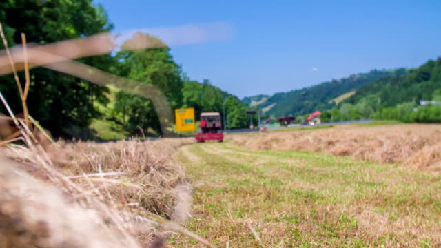 Tractor hay harvesting video