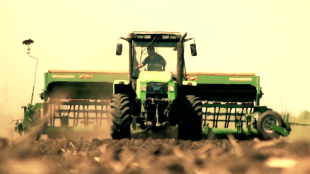 Tractor in a warm haze video