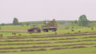 Tractor on harvest field video