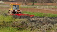 Tractor preparing land in lavender field, rural countryside landscape. video