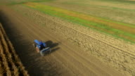 AERIAL Tractor Seeding The Field video