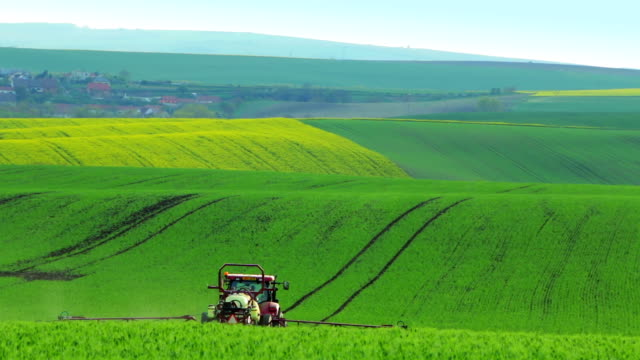 Tractor Watering the Green Field video