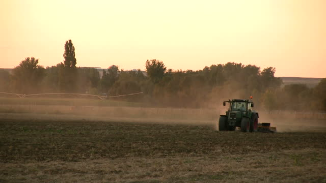Tractor working in the field video