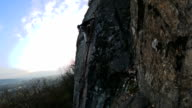 Trad Climbers climbs granite crack video