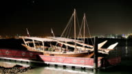 Traditional arabic dhows at night video